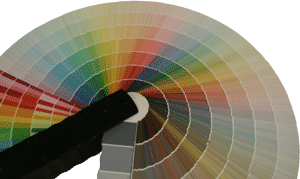 Color chips showing options for painted exterior shutters.