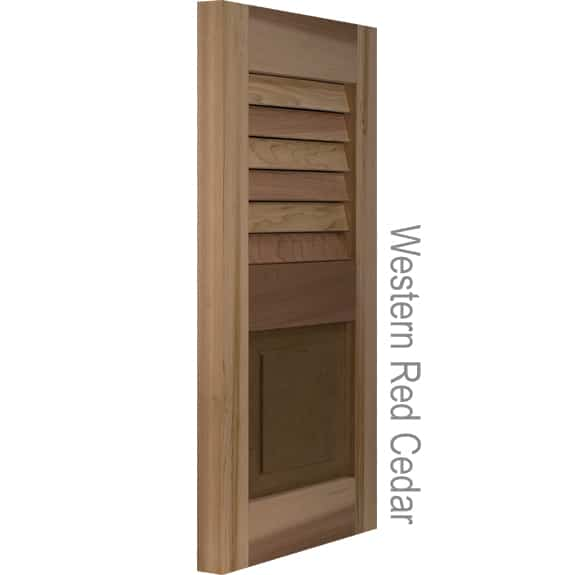Exterior shutters made with western red cedar louvers and panels.