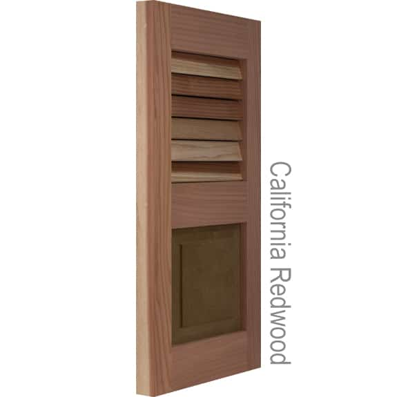 Outside shutters built with California redwood.