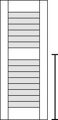 Measure for an exterior shutter divider rail.