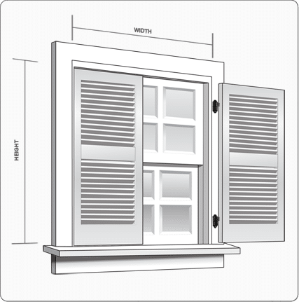 How to measure width and height of outside house shutters.