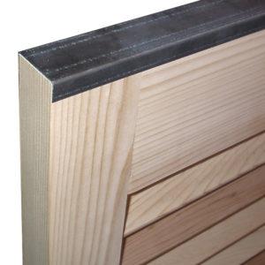 Exterior shutter caps hardware protect panels.