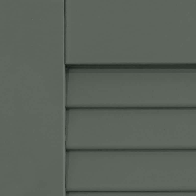 Exterior louvered gray shutters for windows.