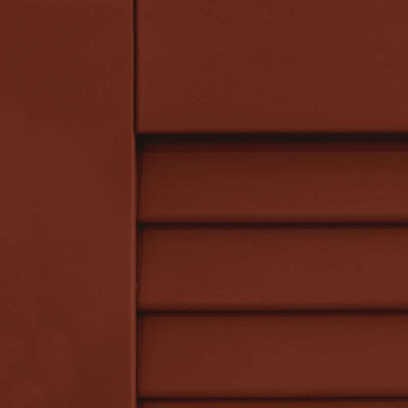Dark red shutters for outdoor windows.