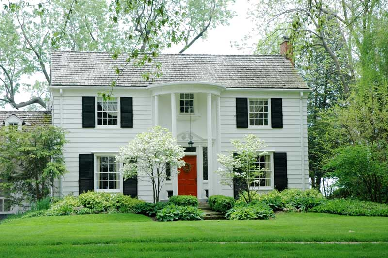 white house with black shutters house ideas