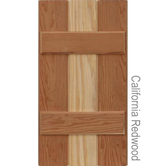 California Redwood board and batten exterior shutters.