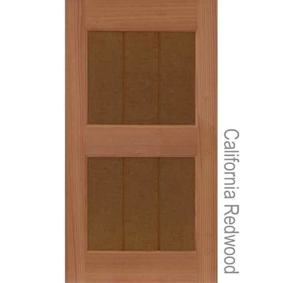 California redwood outdoor shutters with solid grooved panels.