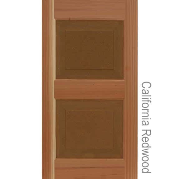 California Redwood panel shutters for house curb appeal.
