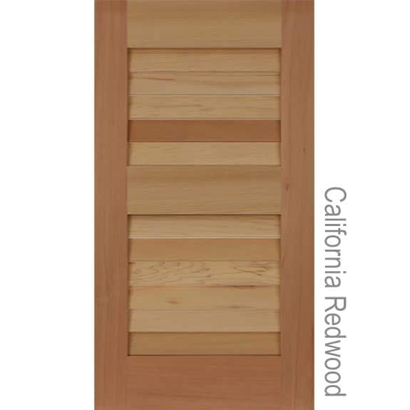 Exterior louvered California redwood shutters.
