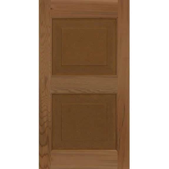 Cedar raised panel shutter for outdoor window installation.