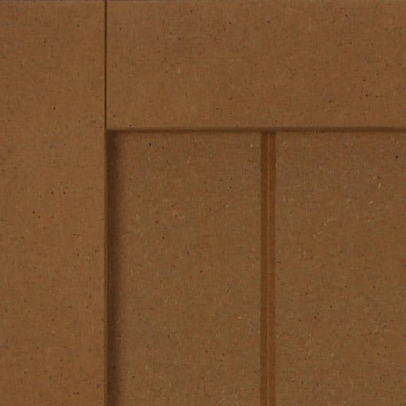 Exterior composite paneled shutter with vertical grooves.