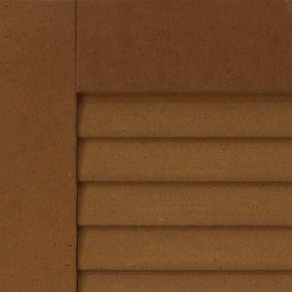 Louvered DIY composite shutters for exterior home installation.