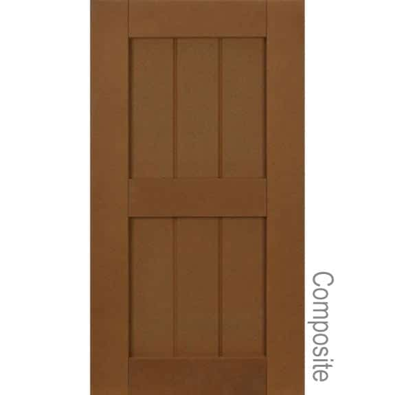 Grooved panel composite exterior shutters.