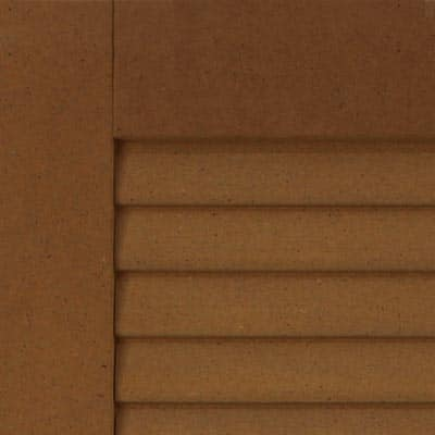 Louvered composite exterior shutters for windows.