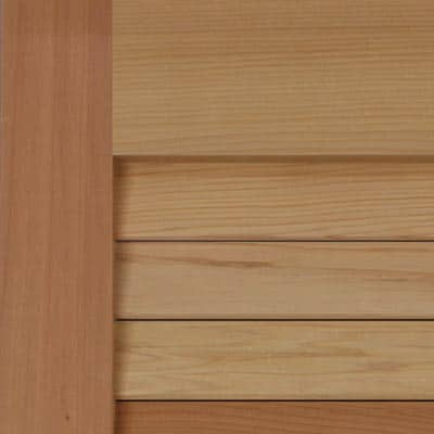 Louvered premium wood California redwood exterior shutters.