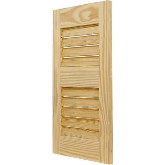 Outdoor louver pine shutter for house installation.