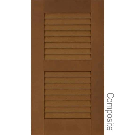 Louvered exterior composite shutters with louvers.