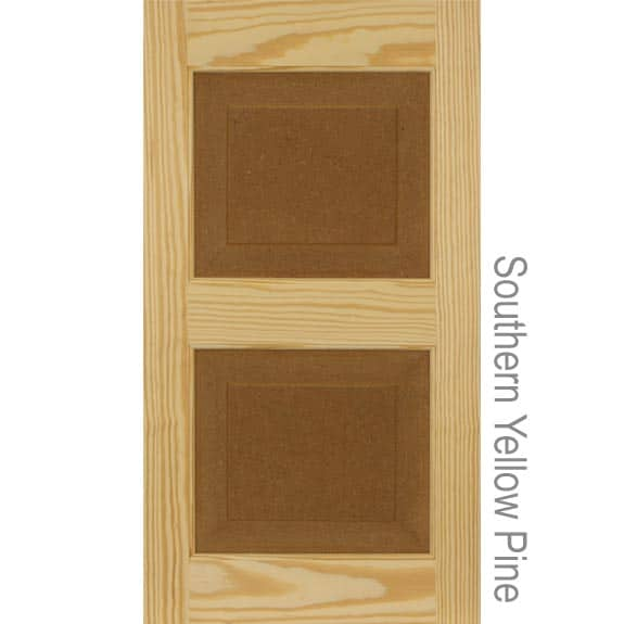 Southern Yellow Pine wood raised panel exterior shutter for installation on house windows.