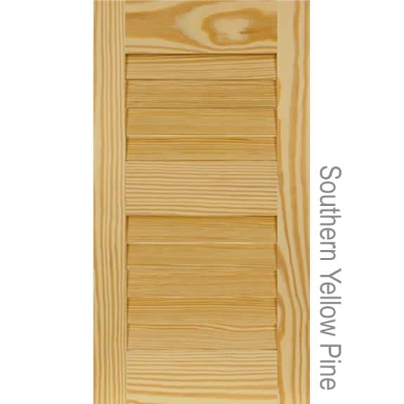Outdoor Southern Yellow Pine shutters with tilted slats.