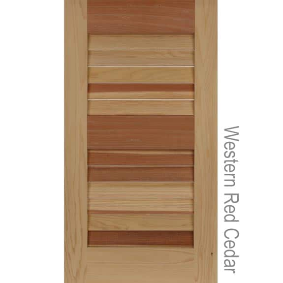 Wood exterior western red cedar louver shutters.