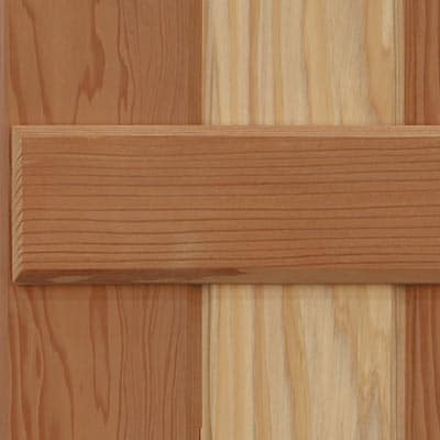 Board and batten California redwood exterior shutters.