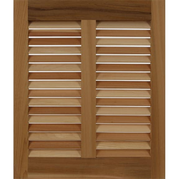 Wooden bermuda shutters made from western red cedar.