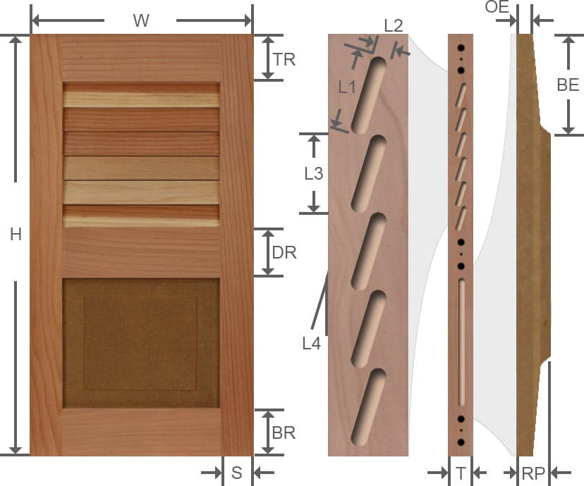 Combo wood exterior shutter specifications.
