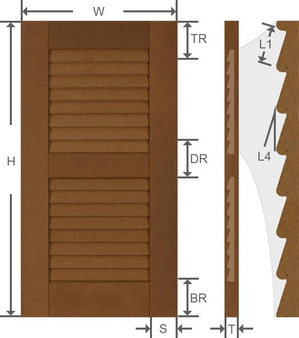 Composite louvered exterior shutter specifications.