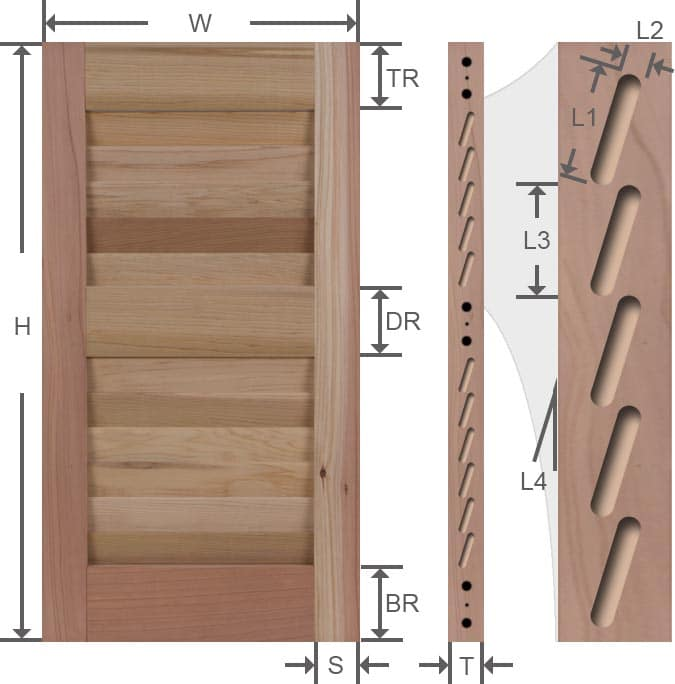 Wood louver exterior shutter specifications