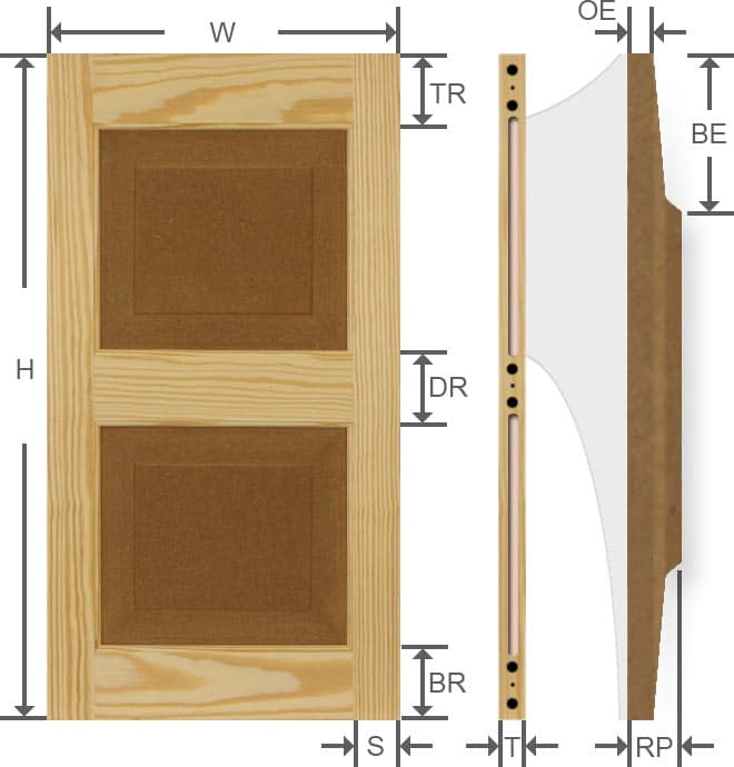 Specifications for wood pine affordable exterior shutters.