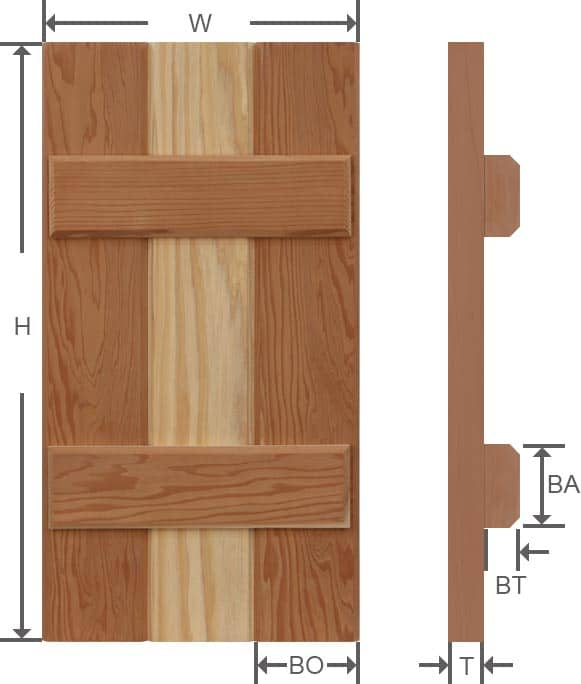 Board and batten wood exterior shutter specifications.