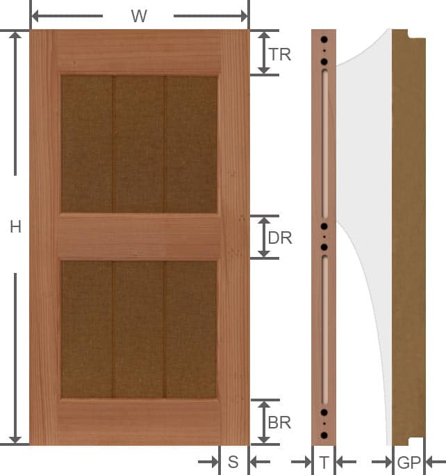 Rustic wood grooved panel exterior shutters specifications.
