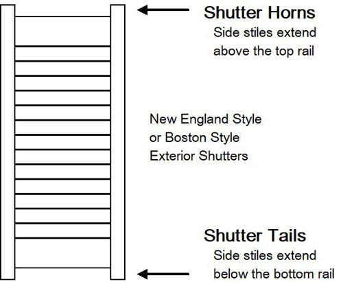 Boston or New England style exterior shutters with horns or tails.