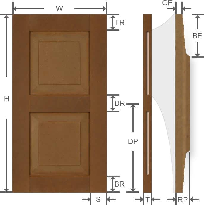 Composite raised panel exterior shutters specifications.