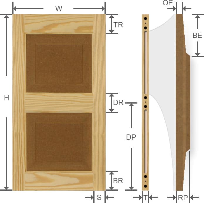 Specifications for affordable wood pine exterior shutters.