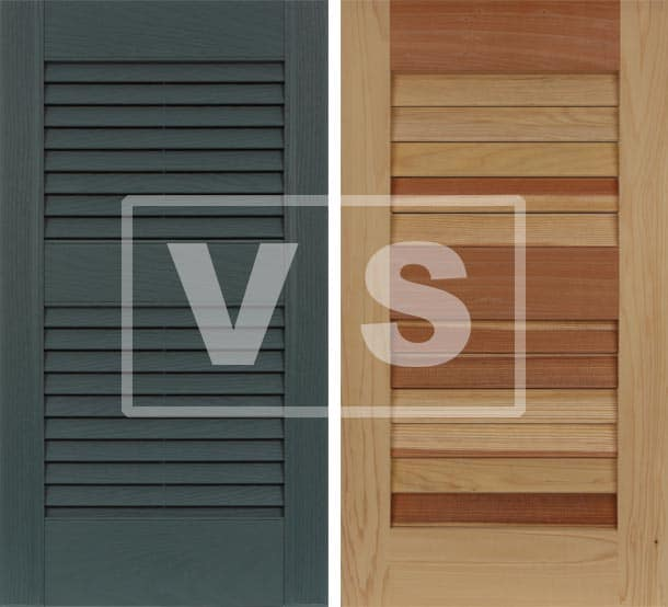 Compare vinyl vs. wood exterior shutters.