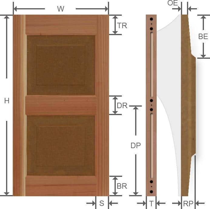 Exterior wood raised panel shutters dimensions.