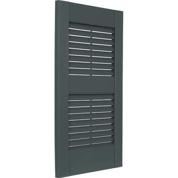 Louvered vinyl exterior shutters tilt view.