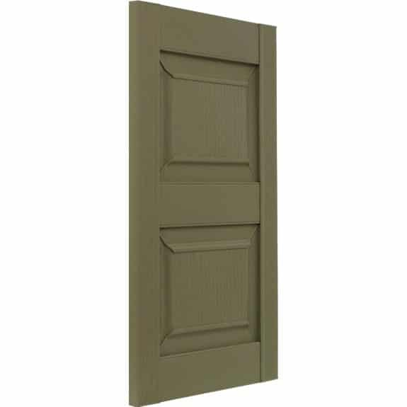 Green outdoor raised panel vinyl shutters on tilt.
