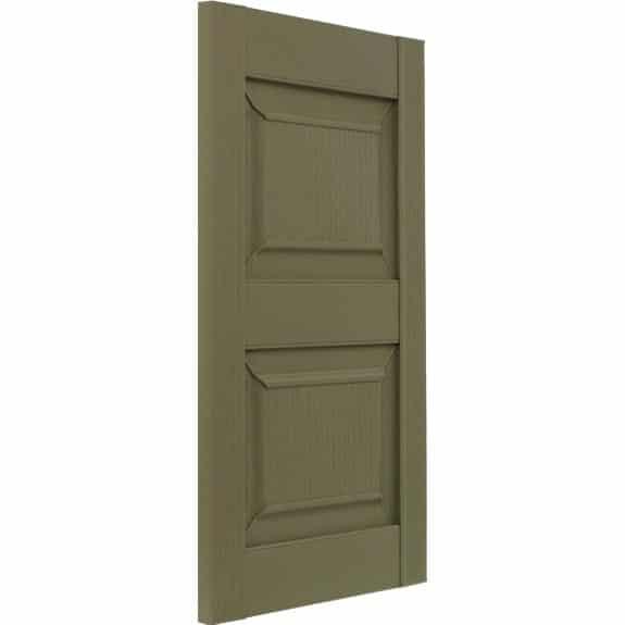Green outdoor raised panel vinyl shutters on tilt.