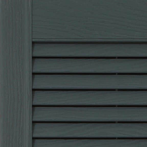 Louvered exterior vinyl shutter in colonial blue zoom.