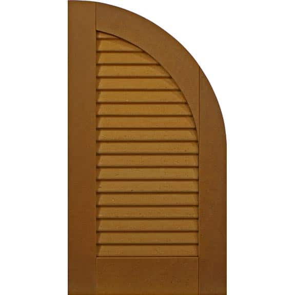 Composite arch top exterior shutter with louvers.