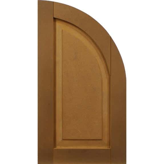 Composite arch top exterior shutter with raised panel.