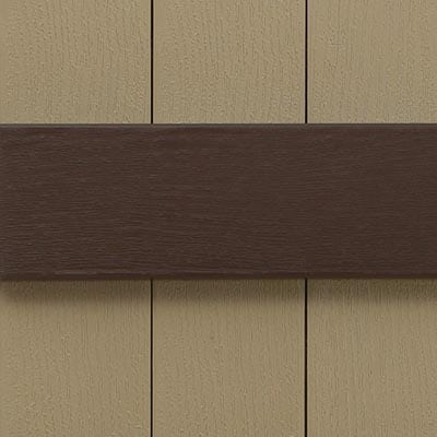 Vinyl board and batten shutters for house windows.