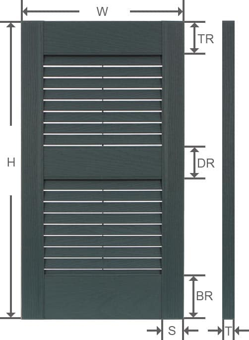 Vinyl louver outdoor shutter specifications.