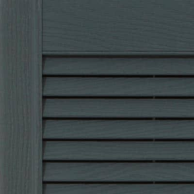 Exterior vinyl louvered shutters for windows.