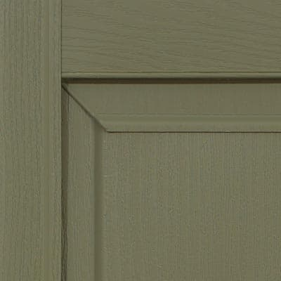 Vinyl raised panel shutters for outdoor windows.