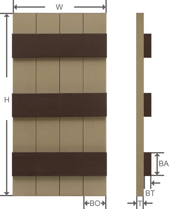 Brown vinyl board and batten shutter specifications.