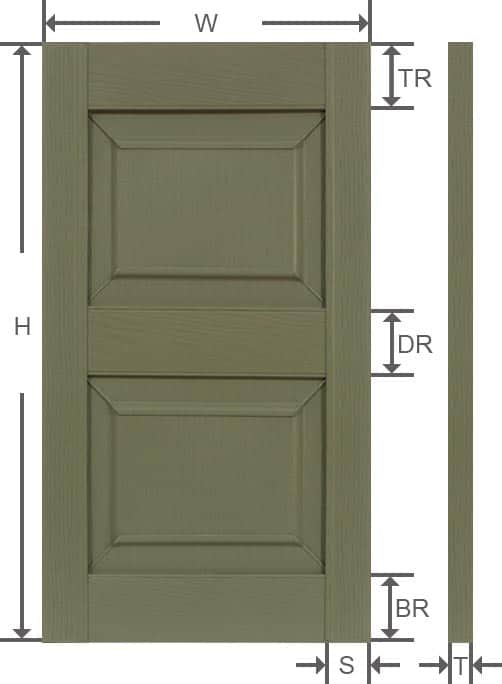 Vinyl raised panel outside shutter specifications.