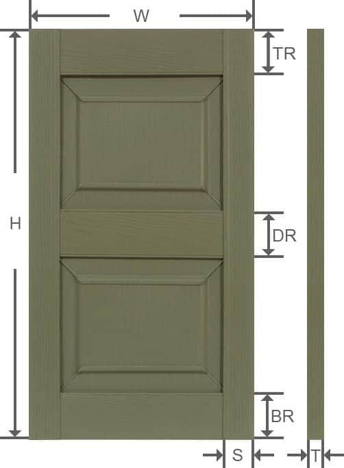 Vinyl raised panel outside shutter specifications.